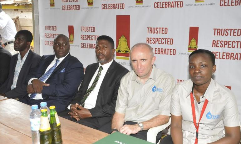 L-R Nakawa MP Micheal Kabaziguruka, Nakawa mayor Ronald Balimwezo Nsubuga, Global Director for Sustainable Development David Croft and UBL's Corporate Relations Director Charity Kiyemba.