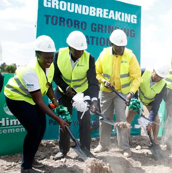 L-R: Sheila Byenkya, the Project Manager for the new Hima Cement plant in Tororo, Hannington Karuhanga, the Board Chairman Hima Cement, Peter Lokeris, State Minister for Minerals and Daniel Petterson, Country CEO Hima Cement officially break ground for the new Hima Cement Plant in Tororo.