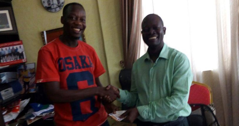 Mesach Ssemkula with Cheap Hardware stores boss George Muteebe