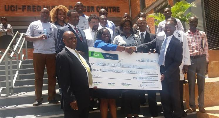 Angella Katatumba hands over Ugx 185 Million to Uganda Cancer Institute