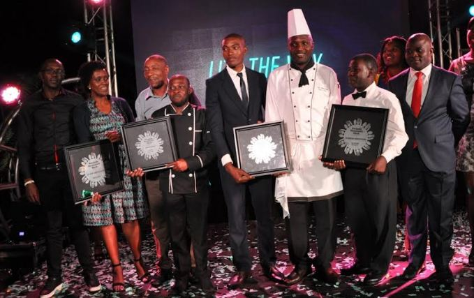 Winners of the 3rd edition of Kampala Restaurant Week pose for a photo with their awards.