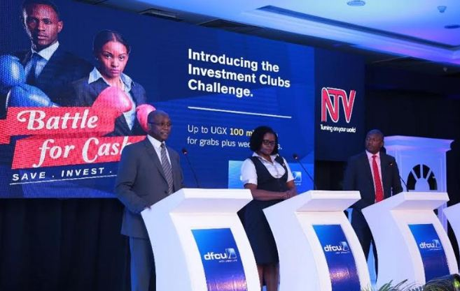 "dfcu Bank, Battle for Cash Campaign judges - Joseph Kasaija, Ann Kyohairwe, and Adam Sengoba address media durin the ""Batttle For Cash"" launch"