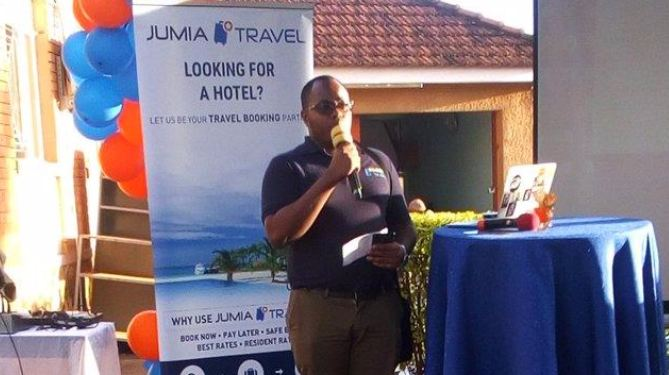 Timothy Mugume, Country Manager Jumia Travel Uganda addressing members of the press during the meet and greet party.