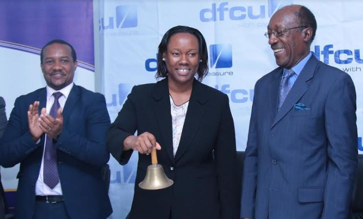 R-L: Kironde Lule (Director, dfcu), Dr. Winifred Kiryabwire (Director, dfcu) and Paul Bwiso (CEO, Uganda Securities Exchange) during the official launch of the dfcu Limited Rights Issue held at the Uganda Securities Exchange Offices.