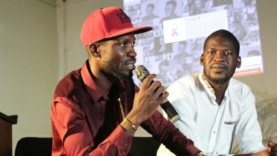Bobi Wine speaking during the arts and activism symposium held at the Uganda Museum.