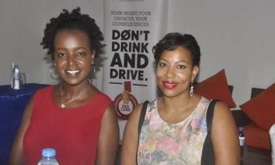 "Siima Sabiti (R) and Crystal Newman are the ambassadors for the responsible drinking campaign dubbed ""Girls against Drunk Driving""."