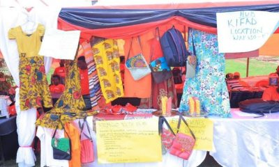 Clothes made by the youths of Kawempe and Wakiso during exhibition.