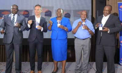 L-R: Joseph Awino – Sales Manager Fresh Dairy, Oliver Mary – Marketing Director Fresh Dairy, Dr. Ademun Rose – Assistant Commissioner Animal Health, Ministry of Agriculture, Animal Industry and Fisheries, Robert Walibwa – Advisor Milk Procurement and Extension Fresh Dairy and Vincent Omoth –Marketing Manager Fresh Dairy launching the newly re-branded Fresh Dairy yoghurt.