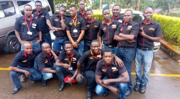 Jumia food delivery team pose for a group photo.