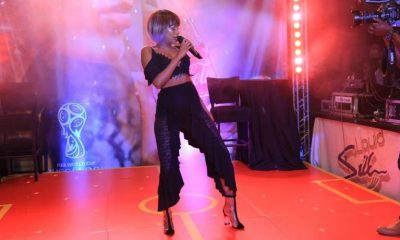 Sheebah Karungi entertains guests during the Coca-cola world cup launch.