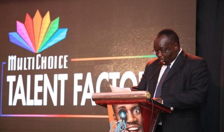 Chairman MultiChoice Uganda Steven Musoke delivering his speech during the MultiChoice Talent Factory launch.