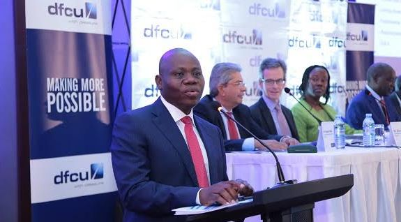 dfcu Bank CEO Juma Kisaame speaking at the dfcu Limited 53rd AGM.