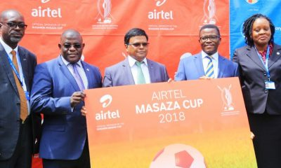 Airtel Uganda M.D joins the Katikkiro of Buganda Owek. Charles Peter Mayiga and other sponsors to launch the Airtel Masaza Cup.