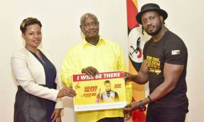 Bebe Cool and his wife Zuena pose with President Museveni