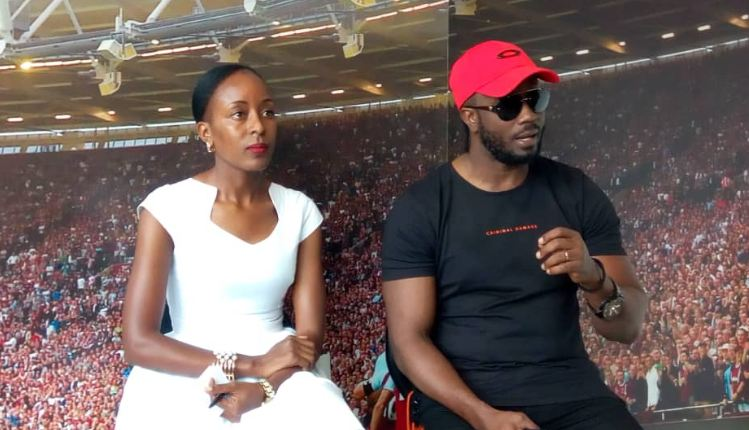 Musician Bebe Cool addresses media. Looking on is Adela Agaba, the country manager BetWay.