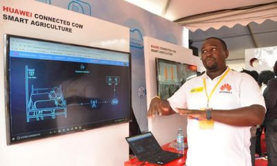 Huawei Public Relations Manager Kyobe Allan Kaggwa explaining how the Huawei Connected Cow Smart Agriculture technology works
