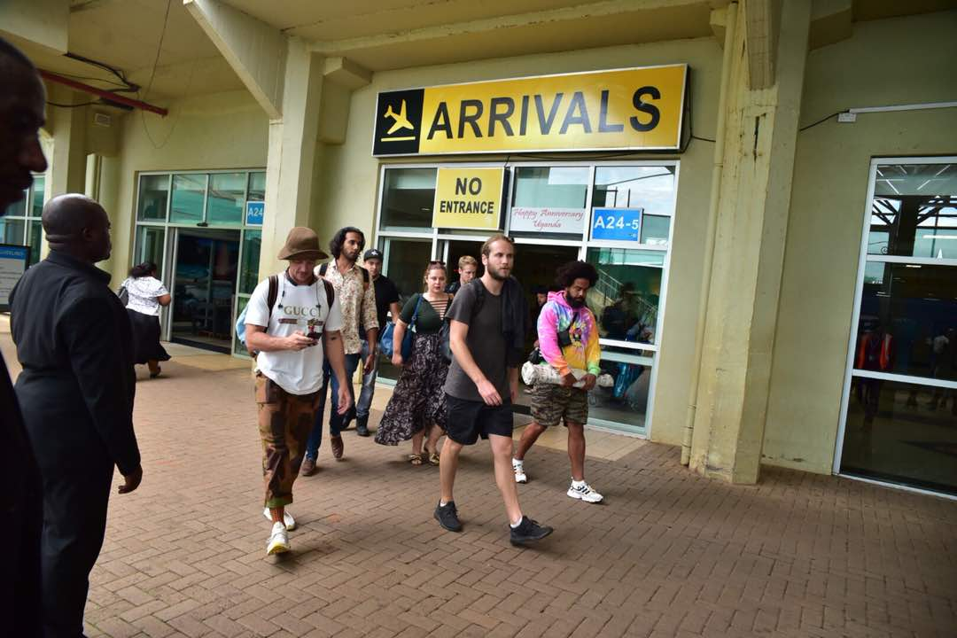 Major Lazer arrive at Entebbe airport.