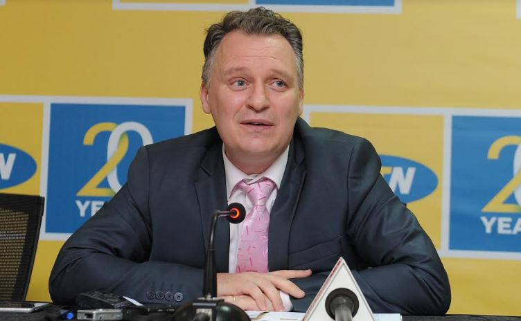 MTN Uganda CEO Wim Vanhelleputte addresses the press at the launch event.