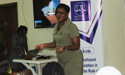 Victoria Byenkya, the Manager dfcu Women in Business speaking to women lawyers during the training