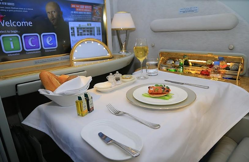 Emirates offers regionally inspired multi-course meals, as well as complimentary wines, spirits and cocktails.