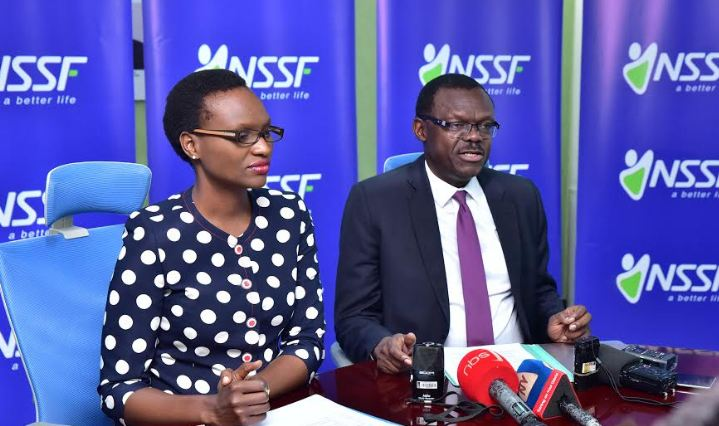 NSSF Head of Marketing and Communications, Barbra Arimi and Patrick Ayota, NSSF Deputy Managing Director addressing the press