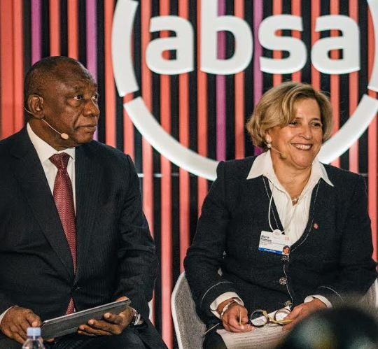 Absa Africa Group Limited Chief Executive Mario Ramos with President Ramaphosa at the Absa Pop in venue in Davos.