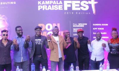 Some of Uganda's top Gospel artistes pose for a group photo during the Kampala Praise Fest press conference.