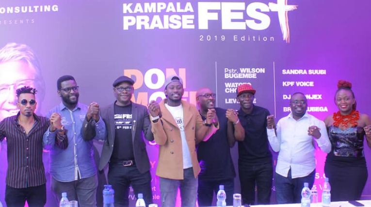 Some of Uganda's top Gospel artistes pose for a group during the Kampala Praise Fest press conference.