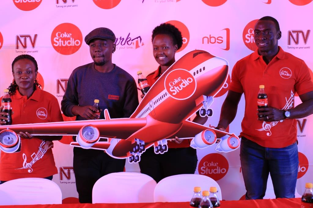 Coca-Cola's Maggie Kigozi (left), Coke Studio artist Alvin Kizz, Coca-Cola's Flavia Nabasa and CCBA's Ivan Oboth at the press conference to launch Coke Studio Under The Crown Promotion