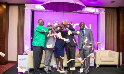 R-L: URBRA CEO Martin Nsubuga, Liaison Director Isaac Ampeire, Liaison head of pension Patricia Akot, Group managing Director Tom Mulwa and Liason Group chairman Wachira Mahihu at the launch of the Liaison Umbrella fund.