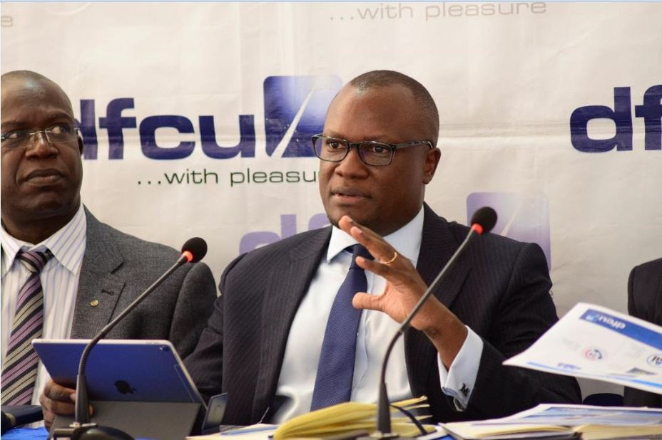 Mathias Katamba CEO dfcu Bank while announcing the 2018 financial results.
