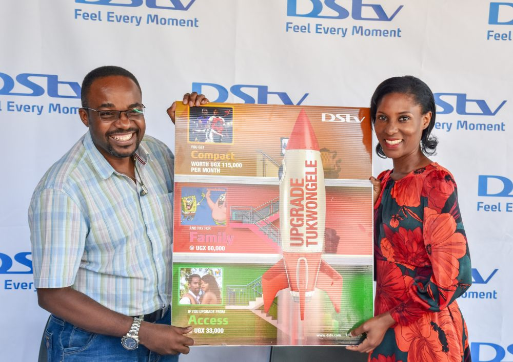 L-R; Albert Nga , MultiChoice's Head of Marketing and Ms Sauya Nakiyaga, MultiChoice Retention Manager , Launch the campaign during a press briefing at the MultiChoice Uganda head office in Kololo.