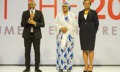 Founder, The Tony Elumelu Foundation(TEF), Mr. Tony Elumelu; Wife to the President of Nigeria, Mrs Aisha Buhari; and  Trustee , TEF; Dr Awele Elumelu,  during launch of 5th cycle of Tony Elumelu Foundation Entrepreneurship Programme held in Abuja.