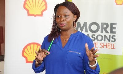 Evelyn Driciru, Vivo Energy Convenience Retail Brand Manager addressing media.