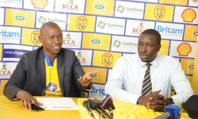 Aggrey Ashaba (L), KCCA FC Club Chairman, addresses media as Valery Okecho Corporate Communications Manager, MTN Uganda, looks on.
