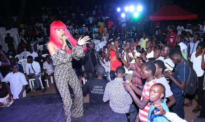 Vinka entertains students during a a mentorship program on responsible drinking held at Makerere University on Friday