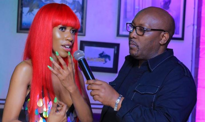 "Isaac Rucci interviews Vinka during the ""Sure"" video premiere event."