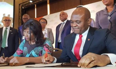 Ahunna Eziakonwa, UNDP Regional Director for Africa; Tony Elumelu, Founder, Tony Elumelu Foundation; at the signing of the TEF-UNDP Sahel Youth Entrepreneurship Programme partnership at the AU Summit in Niamey, Niger