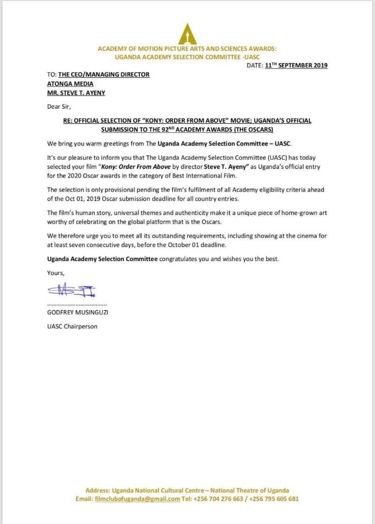 Ugandan Movie Gets First Ever Oscar Nomination In UG Film History. 5