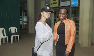 Mya arrives at Entebbe airport