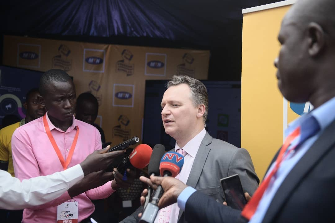 MTN Uganda CEO, Wim Vanhelleputte addresses media at the ICT Innovations Expo