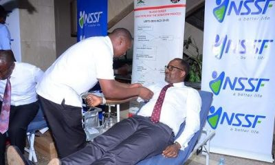 NSSF Managing Director Richard Byarugaba donates blood during the launch of this year's week-long NSSF blood donation drive.