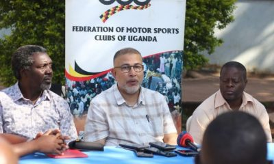 Federation of Motorsport Clubs of Uganda President, Dipu Ruprelia(c) addresses media. Looking on is Jimmy Akena(L), the President Uganda Motocross Club