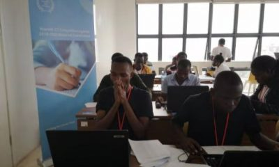 Students doing the National Final exam at Huawei Offices