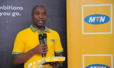 Ibrahim Senyonga, the General Manager MTN Business addresses media.