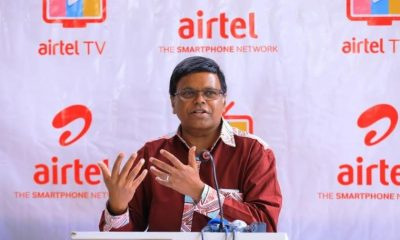 Airtel Uganda MD V.G.Somasekhar addresses guests at the launch of the Airtel TV App held at the Ndere Cultural Centre on Thursday.