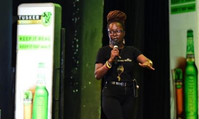 Anne Kansiime performs at the Arise Woman Comedy jam