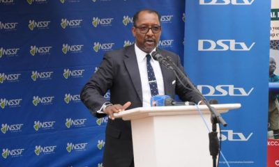 Richard Byarugaba, the NSSF Managing Director addressing journalists.