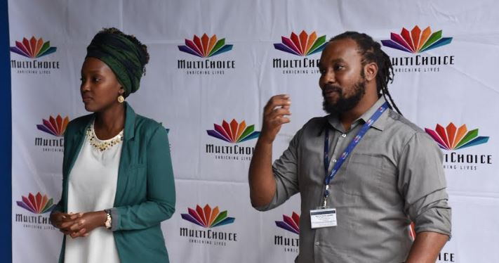 Ms. Joan K. Semanda(L), the Public Relations and Communications Manager and Mr. Colin Asiimwe, the Head of Marketing at MultiChoice Uganda.
