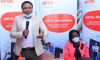 Airtel Uganda General Manager, Broadban, Brenden Kachenje speaking during the Broadband Internet Solution launch in Lira